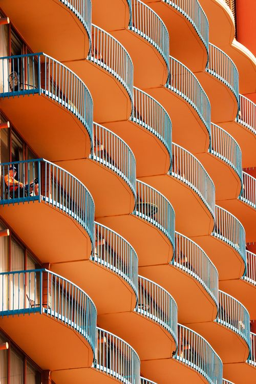Balcony - orange and turquoise architectural detail - lovely pattern