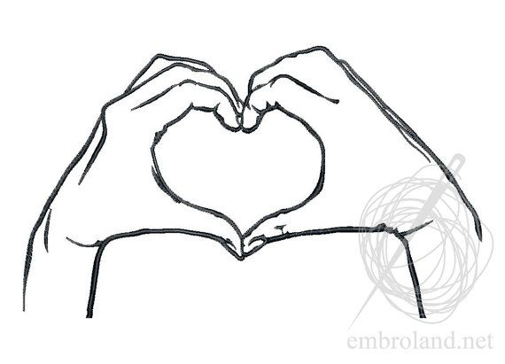 Heart Hands Machine Embroidery Design Instant Download