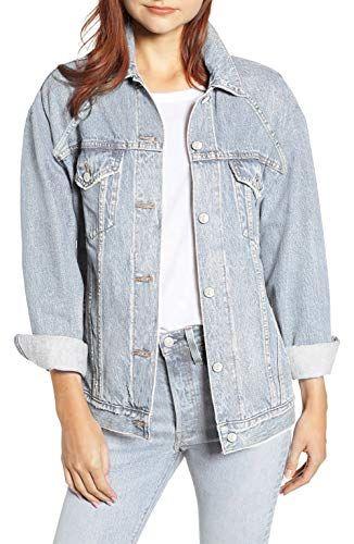 bed1e7d5fbaf10 MONYRAY Giacca di Jeans Donna Larga Giubbotto Cappotto in Denim Oversize  Giacchetto Trucker Vintage Blu Chiaro