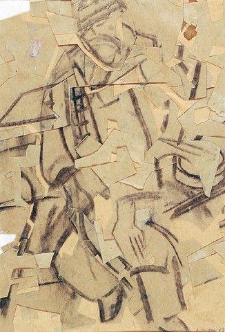 Aleksander MITKA (ur. 1946)  Ślepy żebrak spod kościoła św. Marka w Krakowie, 1968 collage, węgiel, papier; 31,6 x 22,7 cm;