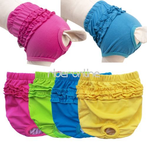 Female Dog Physiological Sanitary Pants Diaper Breeds Panties Underwear s M L XL | eBay