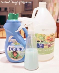 Homemade Febreeze - Pour 1/2 Cup distilled white Vinegar, 1/2 Cup distilled Water, and 1/4 Cup liquid Fabric Softener (Homemade or store-bought) into a spray bottle and shake to blend.
