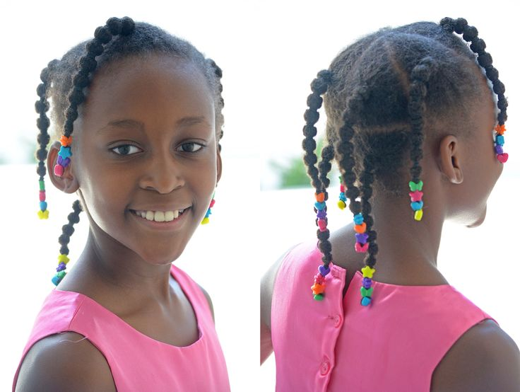 Add colour to your daughter's natural hair with accessories.