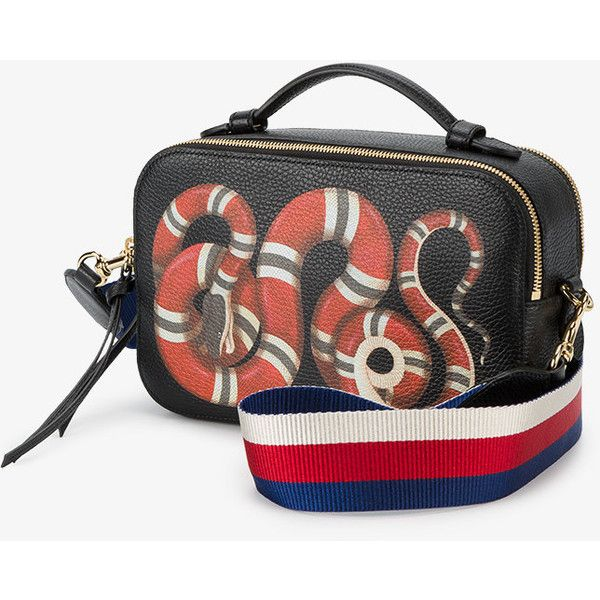 Gucci Merveilles snake print bag (19.240.185 IDR) ❤ liked on Polyvore featuring bags, handbags, leather crossbody, crossbody handbags, genuine leather purse, leather tassel handbags and leather crossbody purse