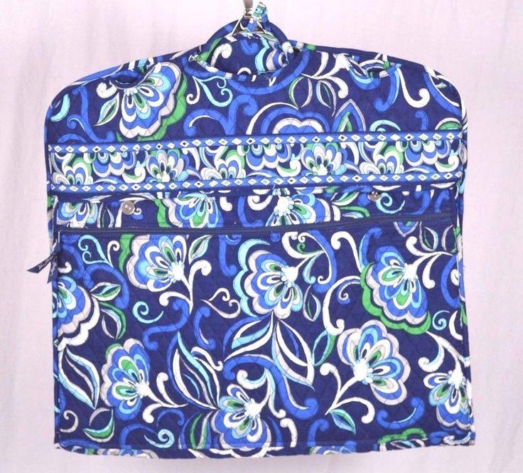 Vera Bradley Garment Bag Luggage Carrying Case Blue Paisley Green White Flower #VeraBradley