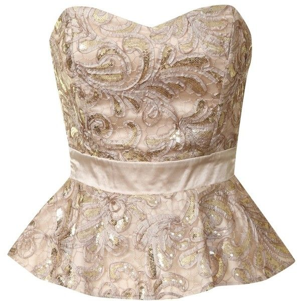 Little Mistress Cream Applique and Sequin Peplum Top ($80) ❤ liked on Polyvore