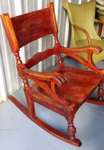 XL-Claw-Arm-Oak-Rocking-Chair-1-2-Vintage-Mission-Style-Solid-Wood