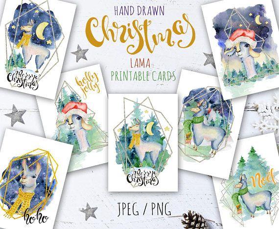 Christmas watercolor llama Christmas watercolor card Printable #Christmas #llama #watercolor #clipart #alpaca #cards
