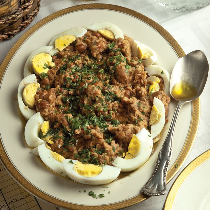 Egypt: Ful Medames (Stewed Fava Beans) - Best known as Egypt's national dish, ful medames is a hearty stew of warmed fava beans stirred with olive oil, lemon juice, and garlic, usually eaten for breakfast. But ful, as it's known casually, is a staple all over the Middle East.