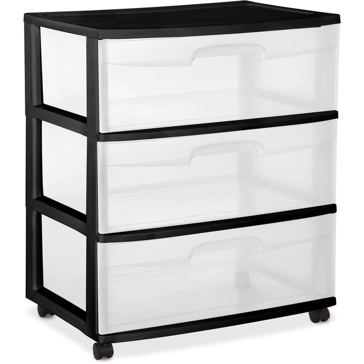3 Drawer Wide Cart Black Plastic Storage Container Rolling Box Durable New Frame #3DrawerWideCart