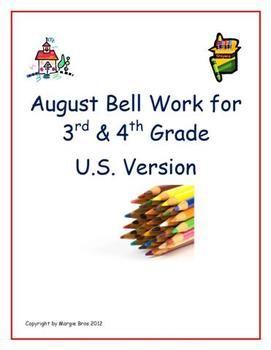 Free Resource:  August Bell Work for 3rd & 4th Grade $0.00Auguste Belle, Bell Ringers, Teachers Handles, Free Resources, 3Rd 4Th, Belle Ringers, Handles Attendant, Belle Work, 4Th Grade