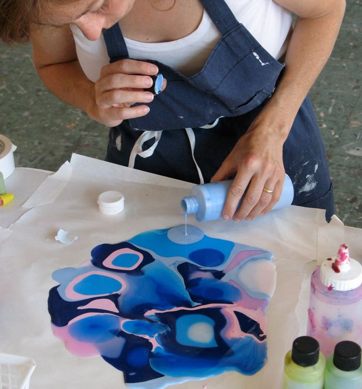 Pouring with acrylics can take just about anyone back to that immediate delight of handling pure color. Here is a video to show you a basic technique with pouring - See more at: http://themindfulartist.com/2012/01/568/#sthash.XMzWu73o.dpuf