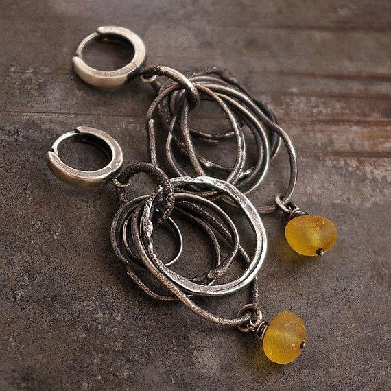 earrings, handmade of oxidized sterling silver (925), Baltic ambers signed, © ewa lompe  D E T A I L S : amber (diameter ): 7- 8 mm total length : 5.5 cm or 2.1 inches ***The earrings pictured are not the exact ones that you will receive, but it will be the same design. Please be aware that each earring is made by hand and so there will be slight variations in each piece.   *This item is made to order, please about 7/10 business days for production.   S H I P P I N G : All objects are…