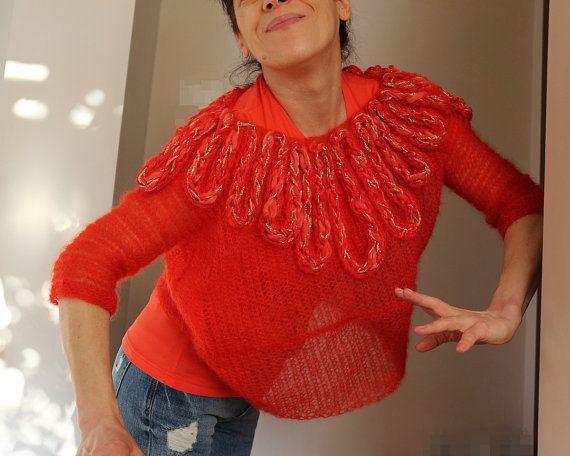 maglione maglietta kid mohair a uncinetto e di PaolaCollection