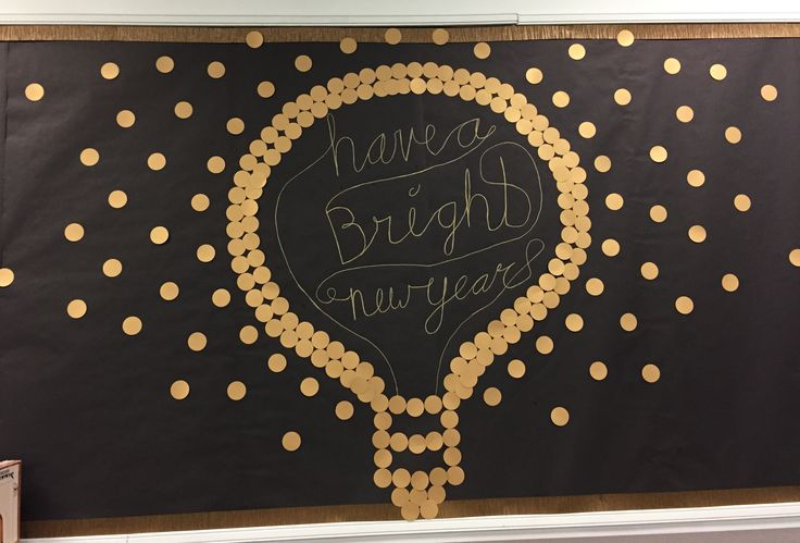 New Years library bulletin board. Light bulb bulletin board idea.