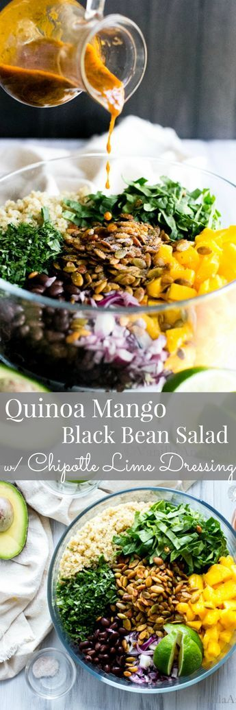Quinoa Mango Black Bean Salad with an irresistible chipotle dressing! Vegan Reci…
