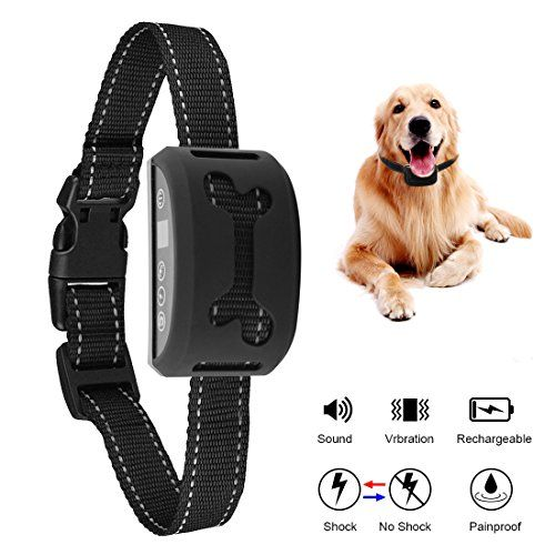 No Bark Collar Rechargeable Dog Anti Bark Collar Dog Bark Deterrent Dog Barking Control Devices with Beep Sound Vibration or No Harm Shock 7 Adjustable Sensitivity and Intensity Levels for Small
