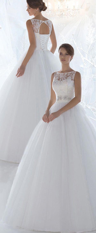 Marvelous Lace & Tulle Bateau Ausschnitt Ballkleid Brautkleider mit Perlen & Strass #winterweddingbridesmaids - #bateau #beadings #dresses