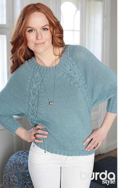 Пуловер с регланными «косами» - схема вязания спицами. Вяжем Пуловеры на Verena.ru