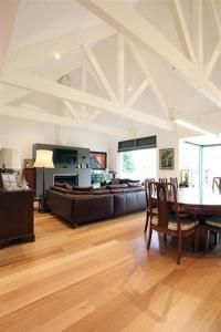 Exposed trusses are a feature of the living areas.