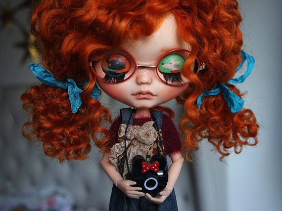 Custom Blythe Doll no. 76 GINGER Ginger has pink skin, beautiful wefted mohair ginger hair, eyebrows and soft freckles on nose and cheeks ^_^ She is going to love you and take care of you every day... (For more pictures send me message) Work done: - Face completely sand-matted - Nose,