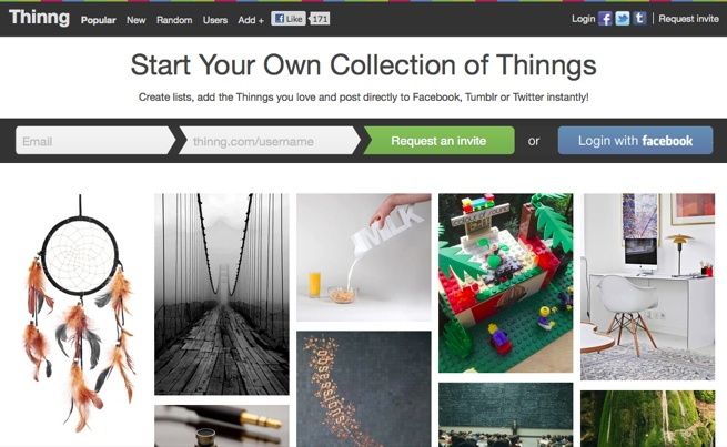 Thinng, a Pinterest for stuff.