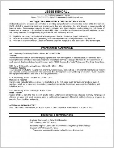 Resumes Preschool Teacher Resume Examples Free Canada High School