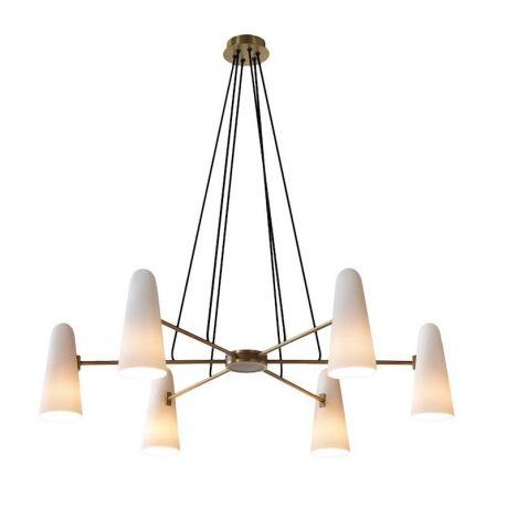 "designed by Jonathan Browning  The Montfaucon Chandelier is machined from solid brass.  The shades are handmade of white porcelain. Shades are unglazed, making them translucent.  SHADE Unglazed Porcelain. Due to the hand-made nature of these porcelain shades, the thickness, height and texture will vary slightly.  CEILING PLATE 6"" Diameter  ELECTRICAL 6 x 8w LED Bulb Only - (75w incandescent equivalent)  Total 48w - (450w equivalent), Warm White, Dimmable  *Custom drop lengt..."