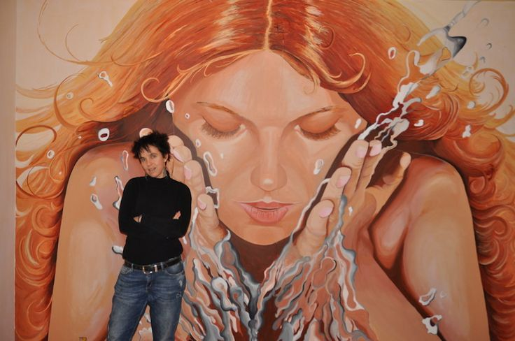 """Mural """"Waking up"""" 2015 by Andrea Haandrikman. Acrylic paint"""