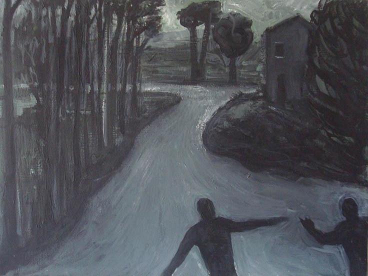 "Marco Neri ""Bruniferd"",1995,tempera su tela cm 30 x 40. In catalogo: Marco Neri ""Rinverdire il classico"" ,Galleria Fabjbasaglia, Rimini."