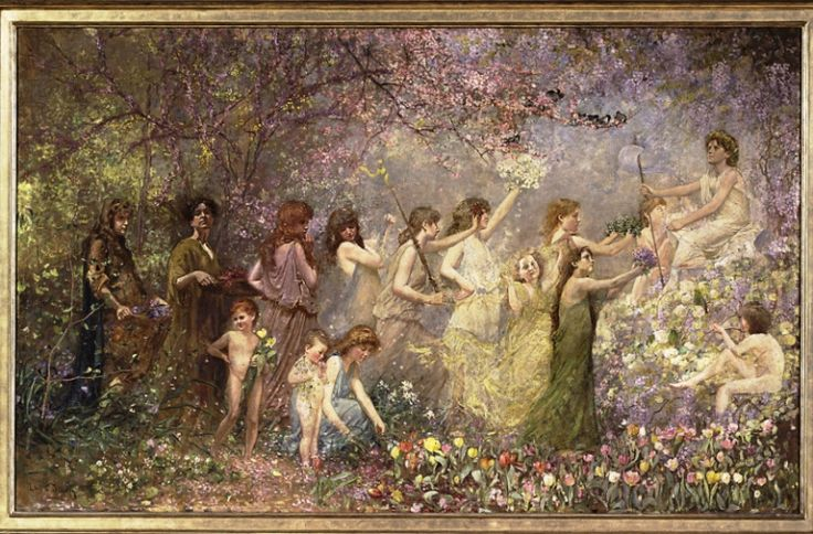 "Painting by: Louis Comfort Tiffany (1848-1933)          ""The Blossoms of Spring"" (also known as Flora and Spring ), c.1887–98. Located at the Morse Museum"