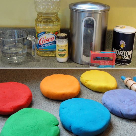 Make Your Own Play Dough: It's easy, requires only household ingredients, and takes just 10 minutes. Gather flour, water, cream of tartar, salt, vegetable oil, and food coloring (get the exact recipe here), and in just a few minutes, you'll have long-lasting, nontoxic, homemade playdough!  Source: Musings From a Stay at Home Mom