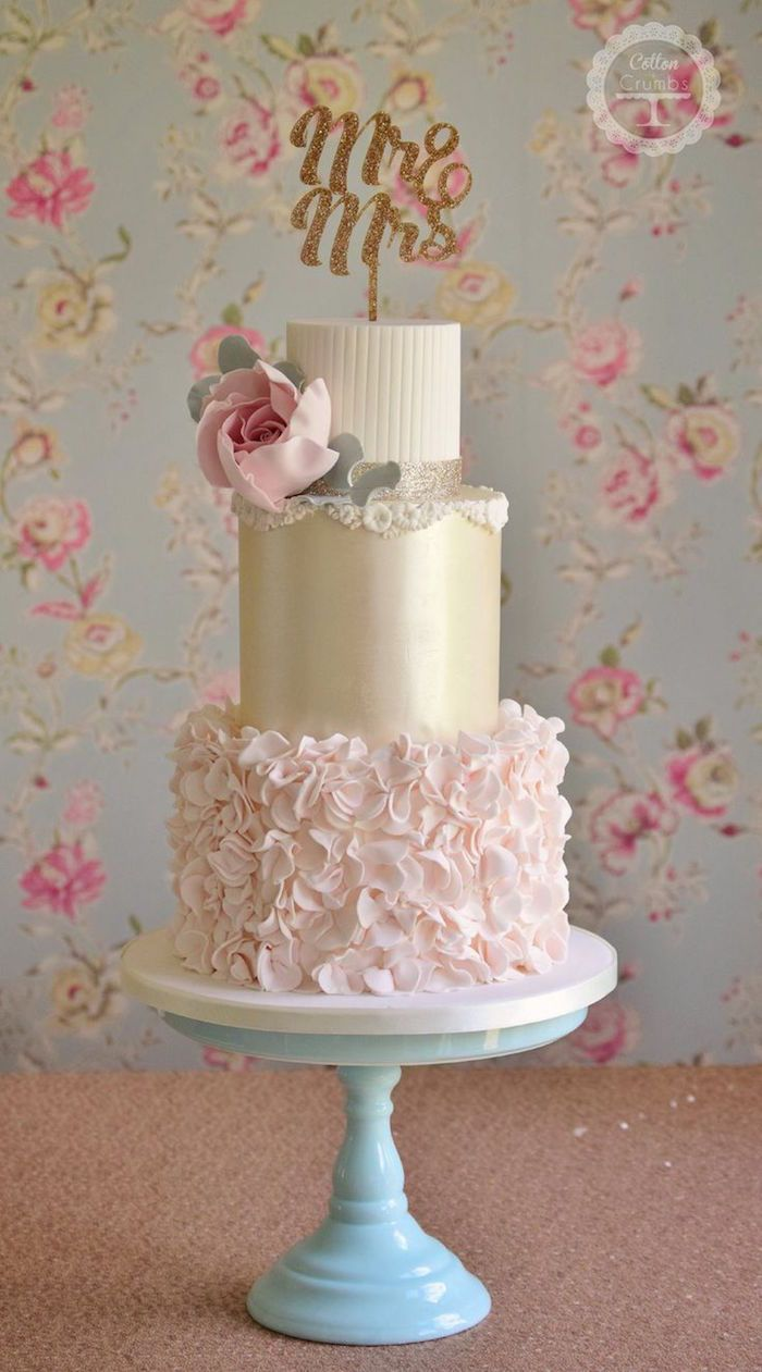 Featured: Cotton and Crumbs; Pink and gold tiered wedding cake