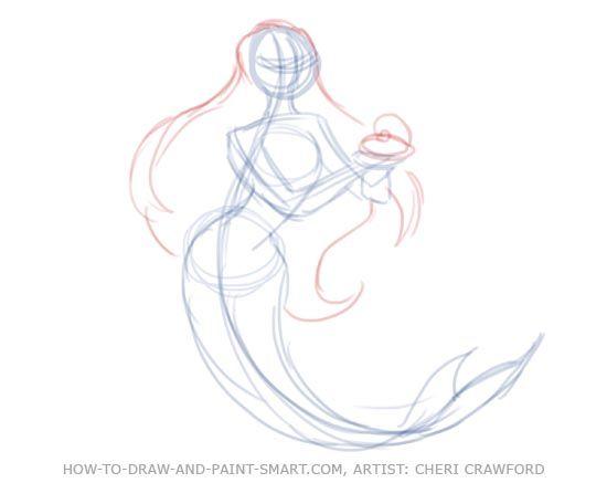 drawing mermaid tutorial | How to Draw Mermaids Drawing 5