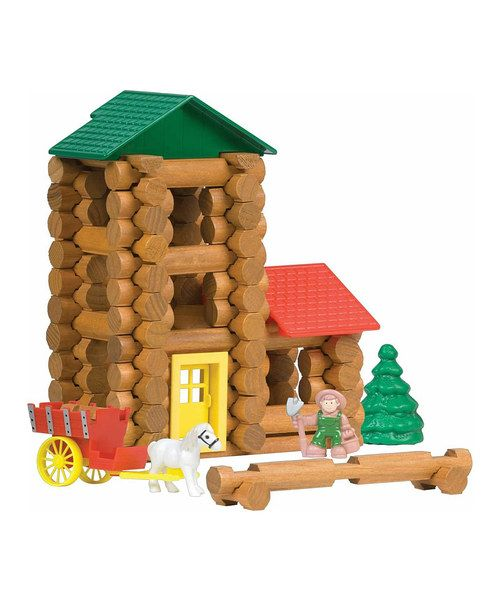 The classics are back and they're better than ever. With this set, kids can build a frontier homestead with real wood logs and complete with a horse-drawn wagon. When the barn raising is over and it's time for demolition, toss all 120 pieces back into the handy container for quick and easy storage.Includes 120 pieces and accessories, instructions and storage containerWoodRecommended for ages 3 years and upImported