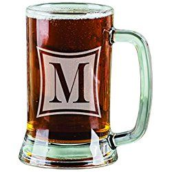 Personalized Monogram Beer Stein Laser Engraved Monogrammed Beer Mug Glass Groomsmen gift