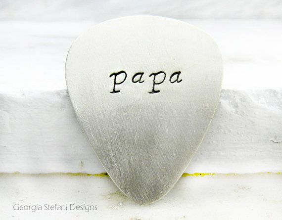 Personalized Nickel Silver Guitar Pick. Papa by DreamCityJewels