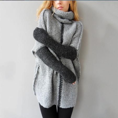 Long Sleeves Patchwork High Neck Long Pullover Sweater