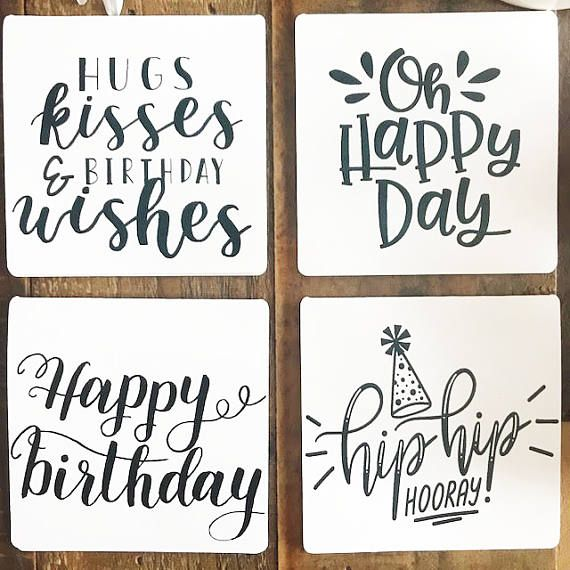 Mini Note Card Greeting Card Birthday Wishes Card Set Etsy Hand Lettering Cards Happy Cards Birthday Card Design