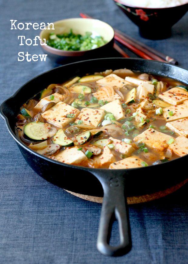 Korean Tofu Stew in Skillet (Vegetarian-friendly)