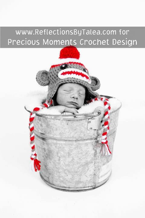 Photo Prop Idea...Sock Monkey  Beanie Hat Baby Crocheted by PreciousMomentsProps, $25.00