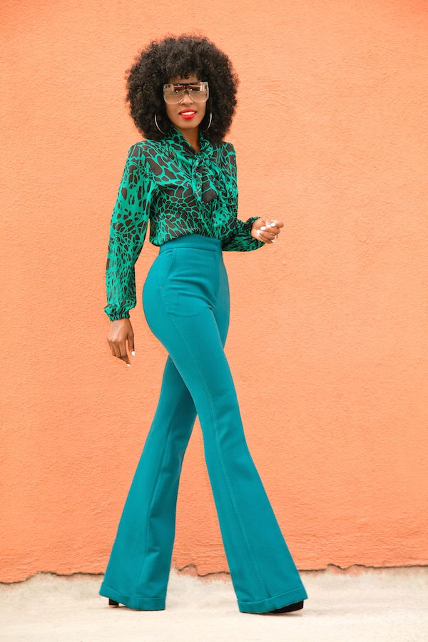Front Tie Printed Blouse + High Waist Trousers
