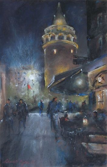 Galata Tower, Istanbul by Ahmet Ogras was selected as Outstanding Pastel in the April 2012 BoldBrush Painting Competition.