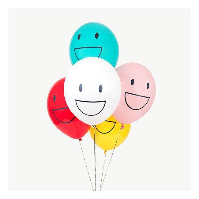 Happy emoji latex balloons.  Set of 5.  Smiley emoji balloons.  Latex emoticon balloons.  Laughing emoji balloons.  Emoji party balloons. by thepartydialect on Etsy https://www.etsy.com/listing/477575132/happy-emoji-latex-balloons-set-of-5