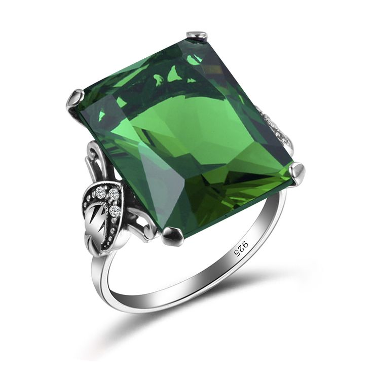 ==> [Free Shipping] Buy Best Szjinao 100% 925 Sterling Silver Jewelry Vintage Wedding Rings For Women Man Female Geometric Ring Green Birthstone Wholesale Online with LOWEST Price | 32815240958
