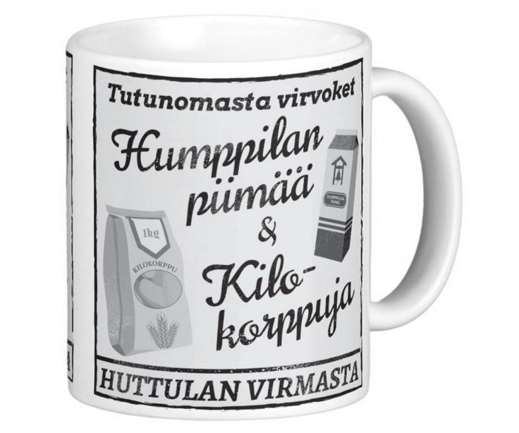 Sananmuunnoksia wanhan mainoksen muodossa. Tässäpä siis Huttulan virman mainos, jossa tutuomasta virvoket, eli Humppilan Piimää & Kilokorppuja. Mukissa kuva molemmin puolin.  https://tmblr.co/Z53Q4i23NgQTH  #huumorimuki #sananmuunnos #sananmuunnokset #muki#huumoripaita #printti #mainos #suomi #suomalainen #suomihuumori
