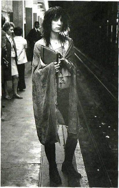 "Patti (also muse to Ann Demeulemeester) said, ""My style says 'Look at me, don't look at me.'""    photo by Gerard Malanga"