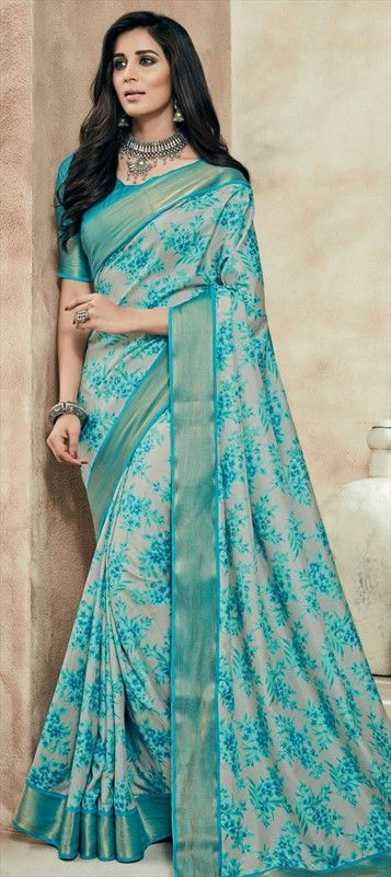 712030 Beige and Brown, Green  color family Printed Sarees, Silk Sarees in Art Silk fabric with Lace, Printed work   with matching unstitched blouse.