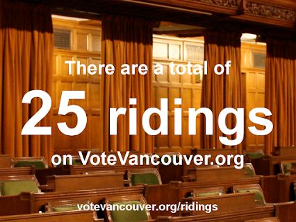 There are 25 ridings on VoteVancouver. Sign up for one of them as soon as you can!