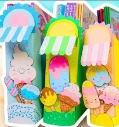 DIY Ice Cream stand magazine holder- room decor // Fagyizó iratpapucs müzlis dobozból gyerekeknek // Mindy - craft tutorial collection // #crafts #DIY #craftTutorial #tutorial #Upcycling #RecyclingCraft #UpcyclingCraft #PaperCraft #KreatívÚjrahasznosítás
